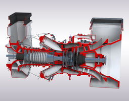 Gas turbine 3D asset low-poly