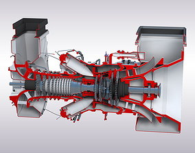 Gas turbine 3D asset low-poly