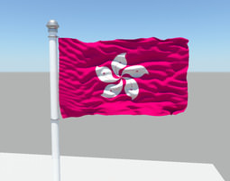 Hong Kong flag 3D model