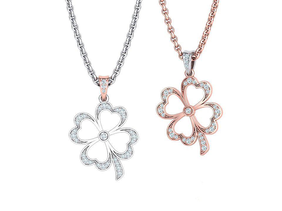 Lucky Clover Diamond Pendant
