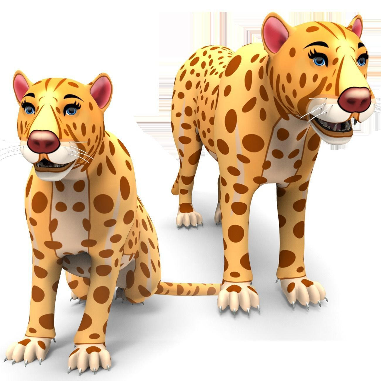 3D Rigged And Animated Cartoon Leopard