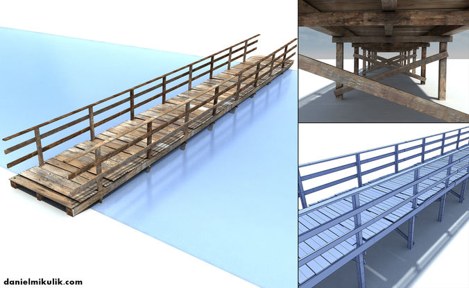 low poly old wooden bridge 3d model max obj mtl 3ds fbx 1