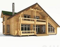 log-cabin Wood house 3D model