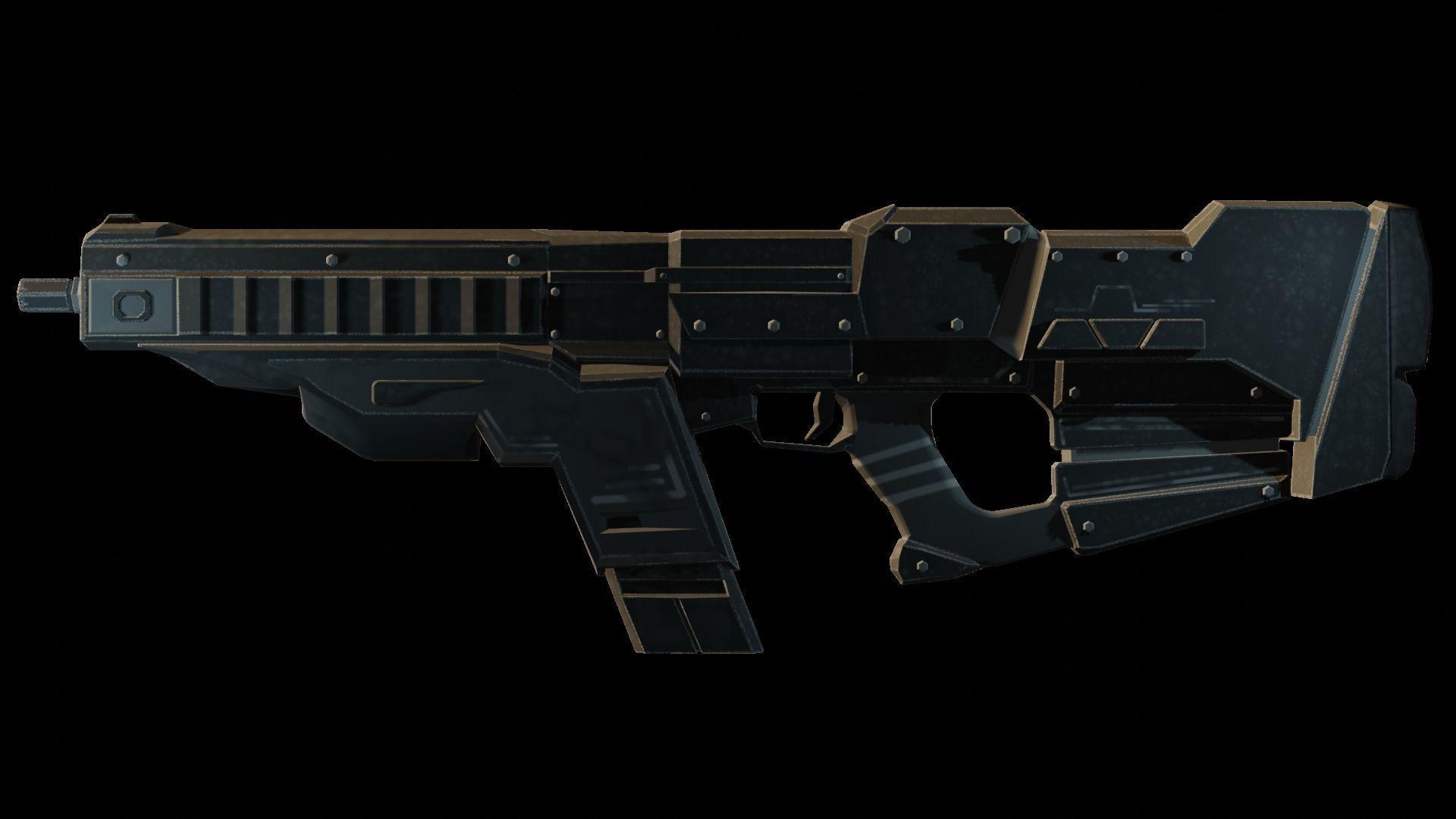 3D asset Futuristic Machine gun Low-poly | CGTrader