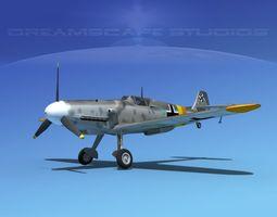 messerschmitt bf-109 v01 3d model rigged max obj 3ds lwo lw lws stl dwg