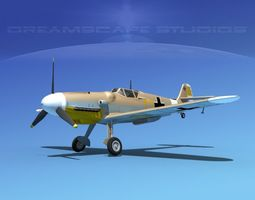 messerschmitt bf-109 v04 3d model rigged max obj 3ds lwo lw lws dxf stl