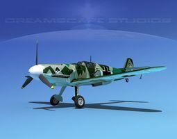 messerschmitt bf-109 v12 3d model rigged max obj 3ds lwo lw lws dxf stl