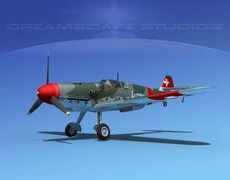 messerschmitt bf-109 v18 3d model rigged max obj 3ds lwo lw lws dxf stl