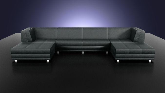 the flat leather sofa 3d model low-poly fbx blend uasset 1