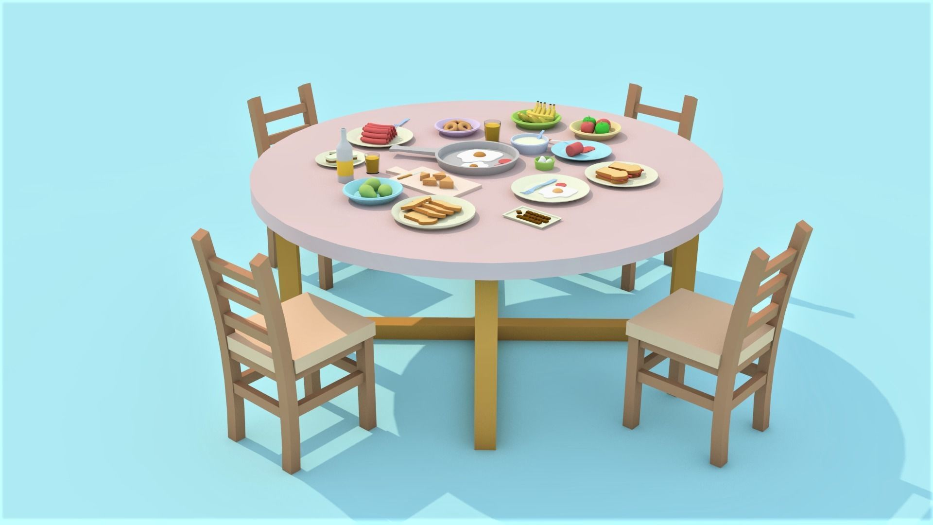 Low-poly dining table with food - cartoon table  5D model
