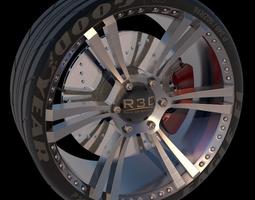 3d model 6 spoke sports racing car tire and wheel