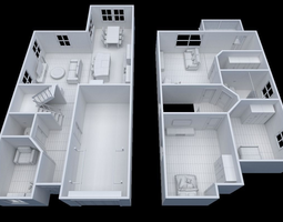 3d model house - floor plan --non-textured version-- realtime