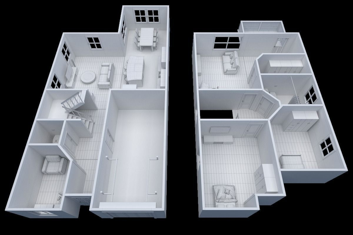 House Floor Plan Non Textured Version 3d Model Vr