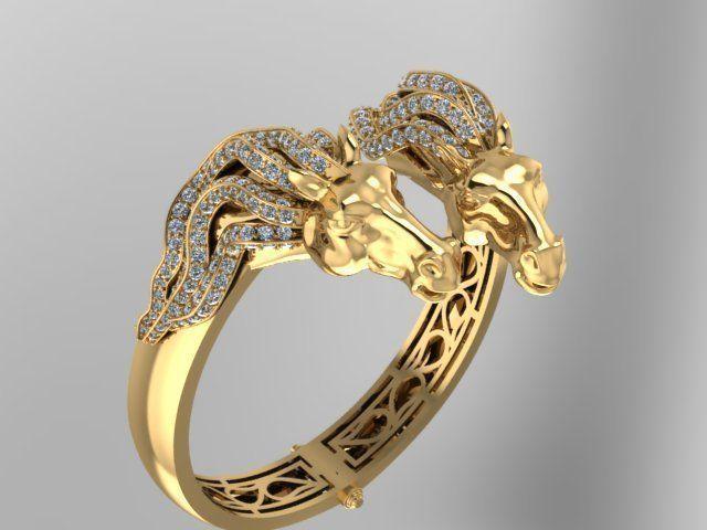 horse face precious bangle bracelet