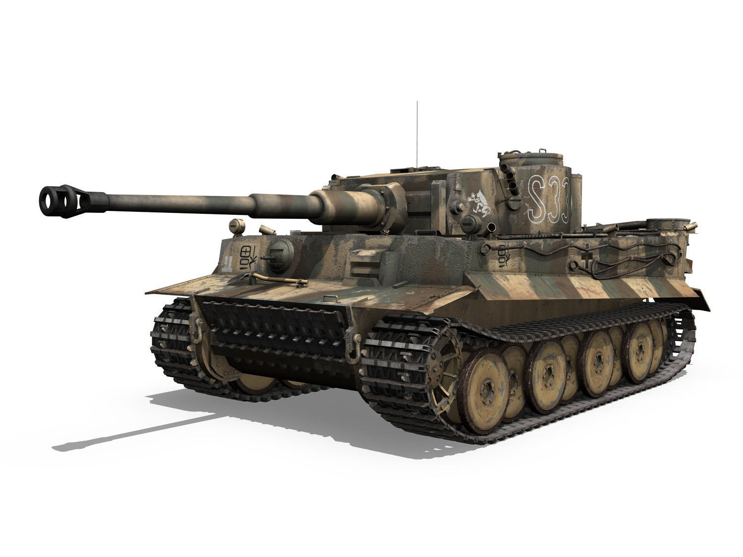 panzer vi tiger s33 early production 3d model obj. Black Bedroom Furniture Sets. Home Design Ideas