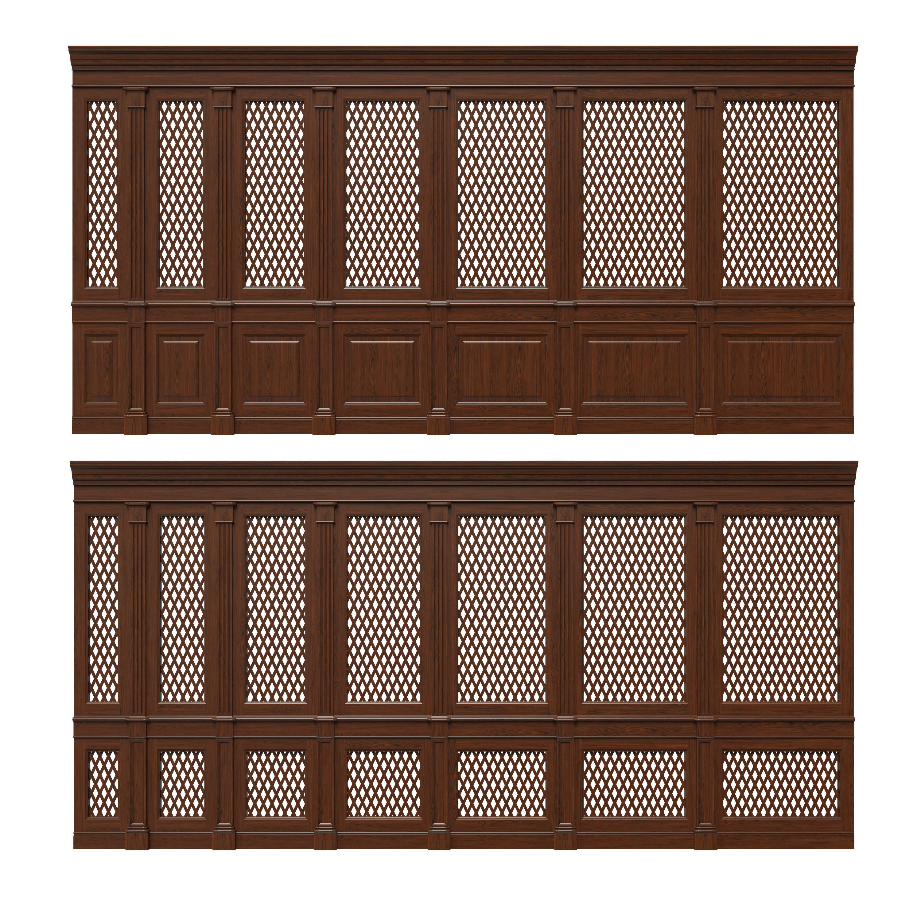 Wooden panels with lattice