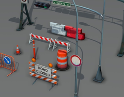 road objects pack - low poly 3d model low-poly