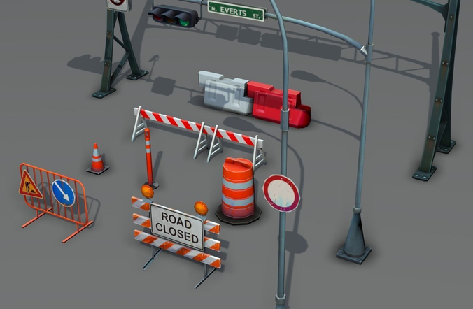 road objects pack - low poly 3d model low-poly max obj fbx ma mb tga 1