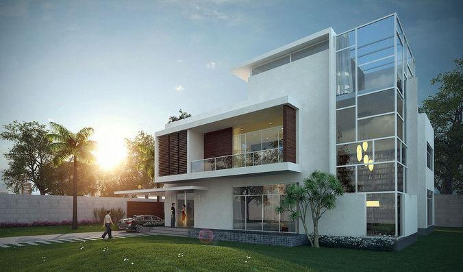3d Private Villa Exterior Cgtrader