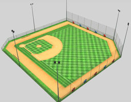 low-poly 3d model baseball stadium pitch diamond low poly