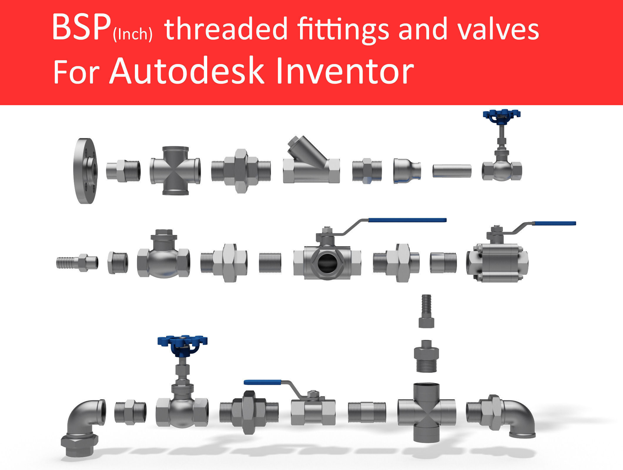 Autodesk Inventor CAD library - Piping No 1 | 3D model