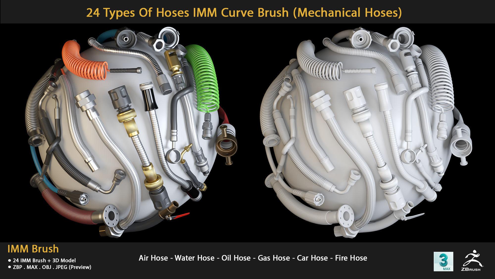 24 Types Of Hoses IMM Curve Brush- Mechanical Hoses