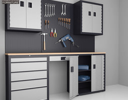 low-poly 3d model garage 03 set furniture and tools