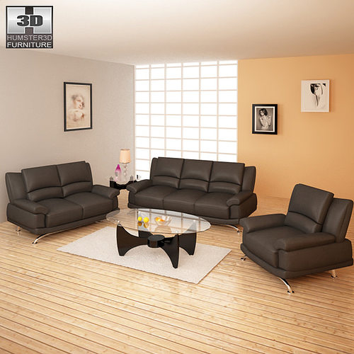 Living room furniture 09 set 3d asset cgtrader for Low living room furniture
