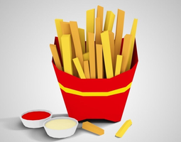 3d asset lowpoly french fries game-ready