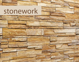Stone wall slate 3D model