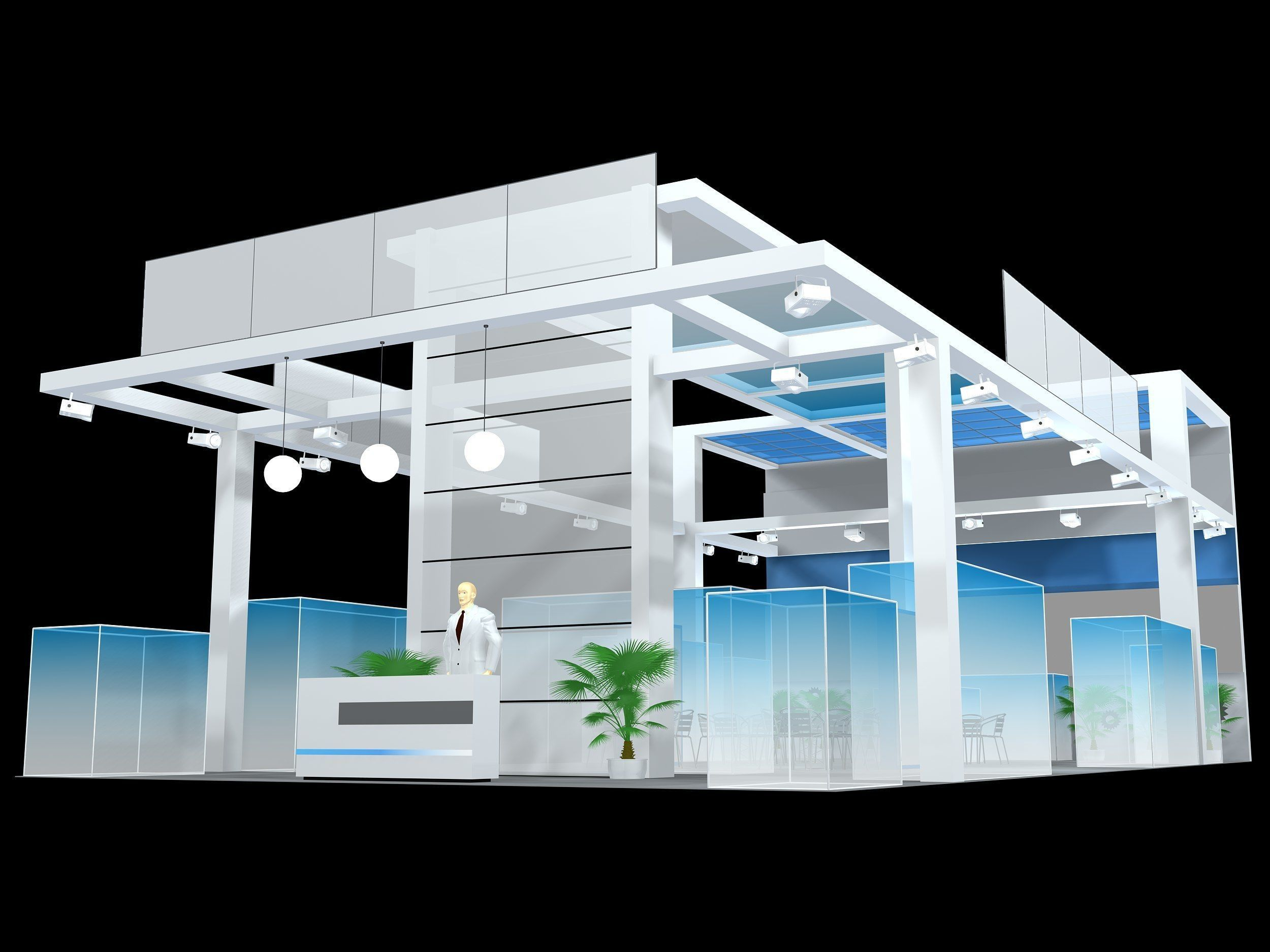 exhibition stall design  3 side open Low-poly 3D model