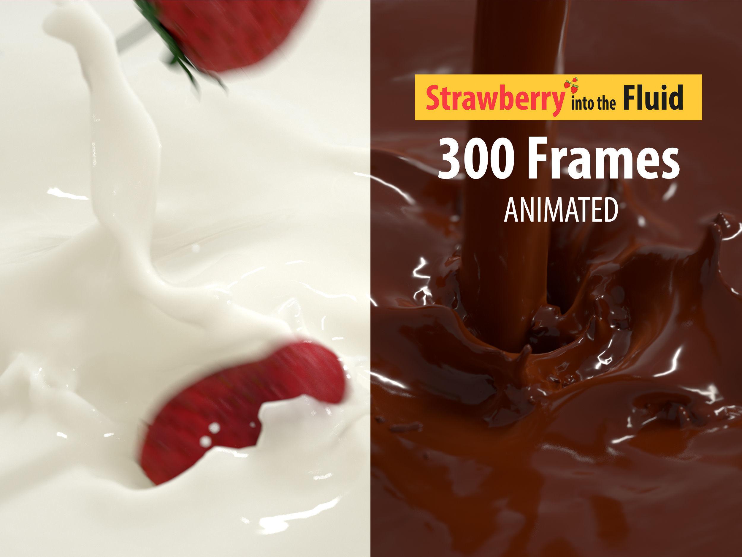 falling Strawberry into Milk and Chocolate Animated Splash