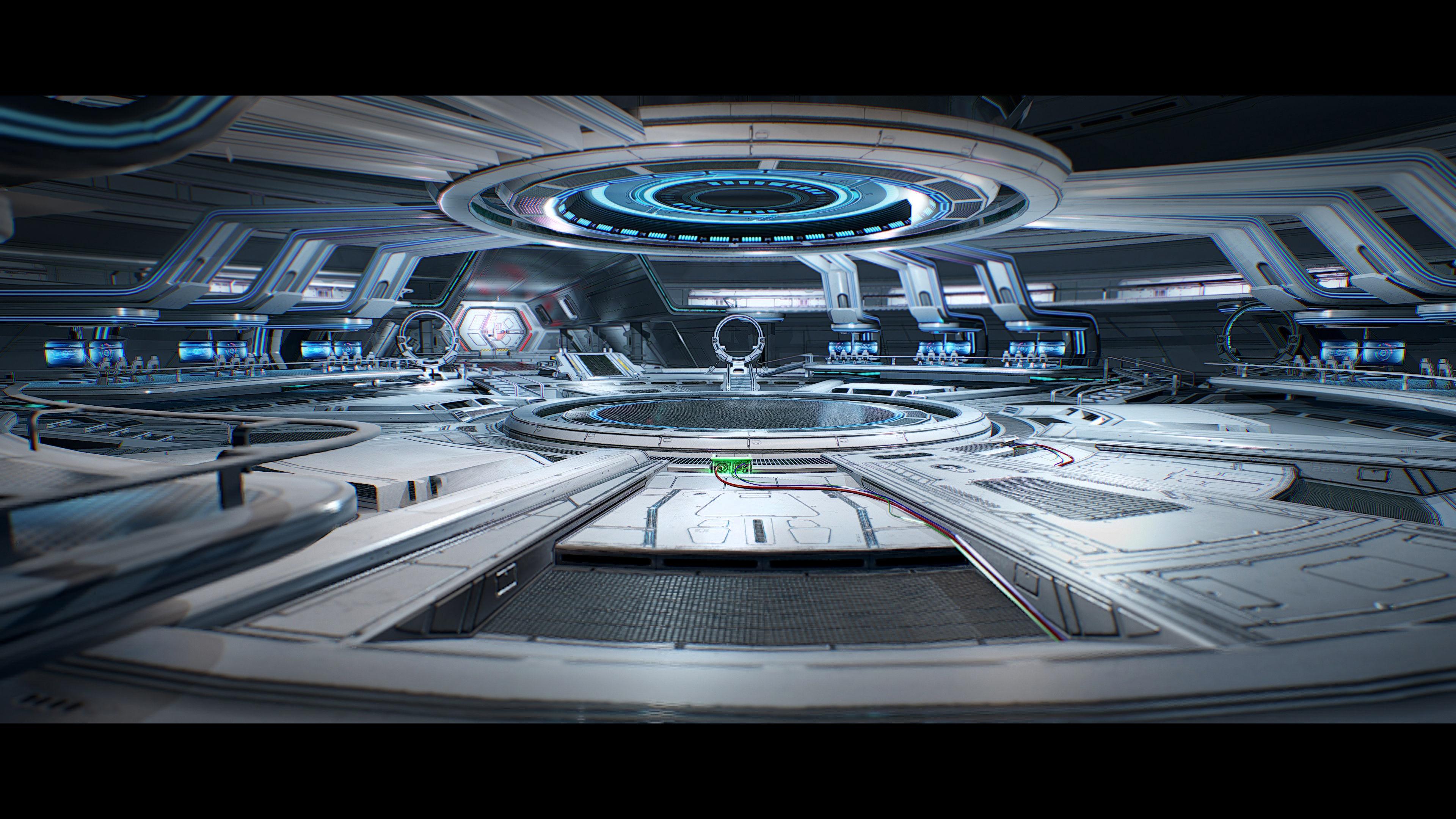 3D Sci Fi Hangar Interior  game ready  optimized for  camera