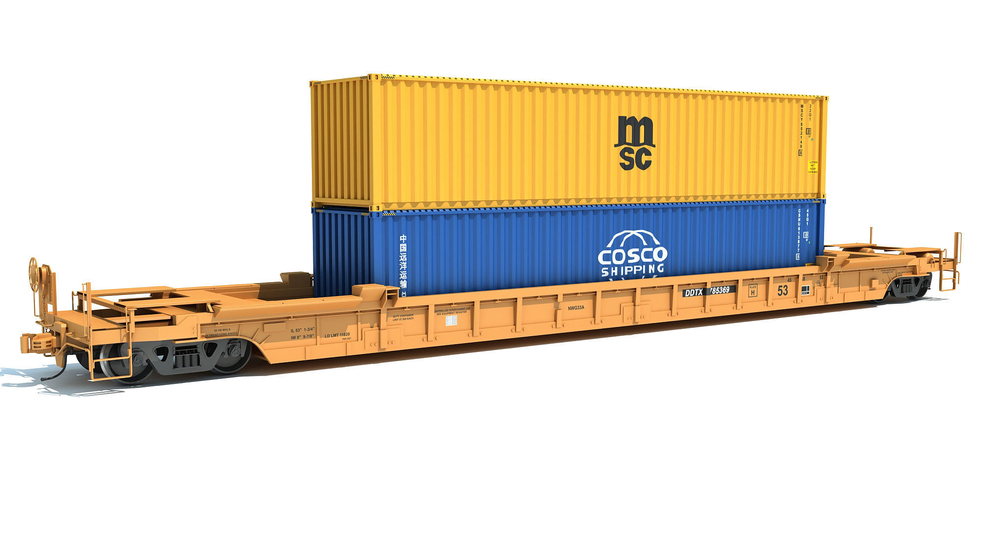 Railroad Double Stack Car Containers