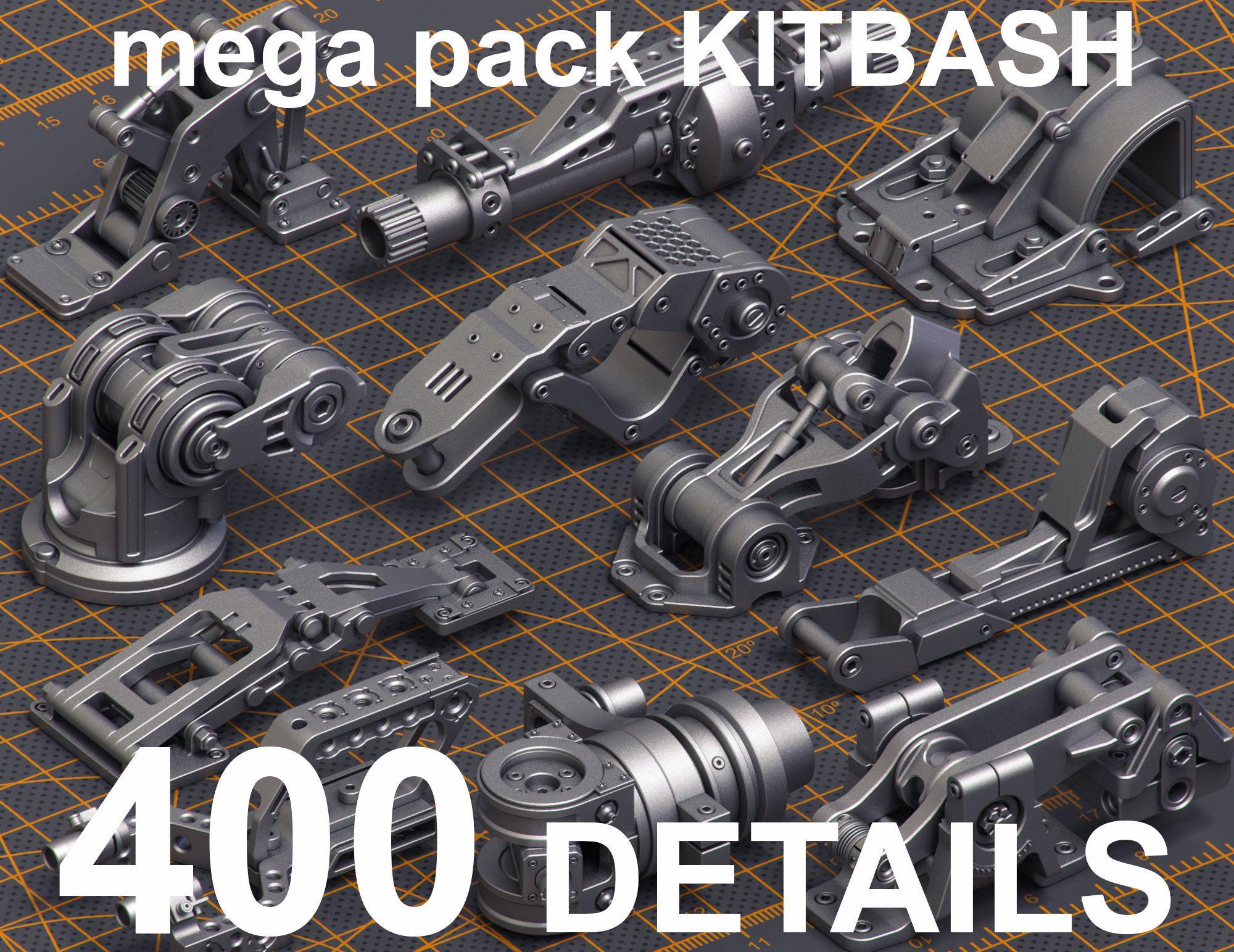 Mega Pack Hard Surface Kitbash 400 DETAILS