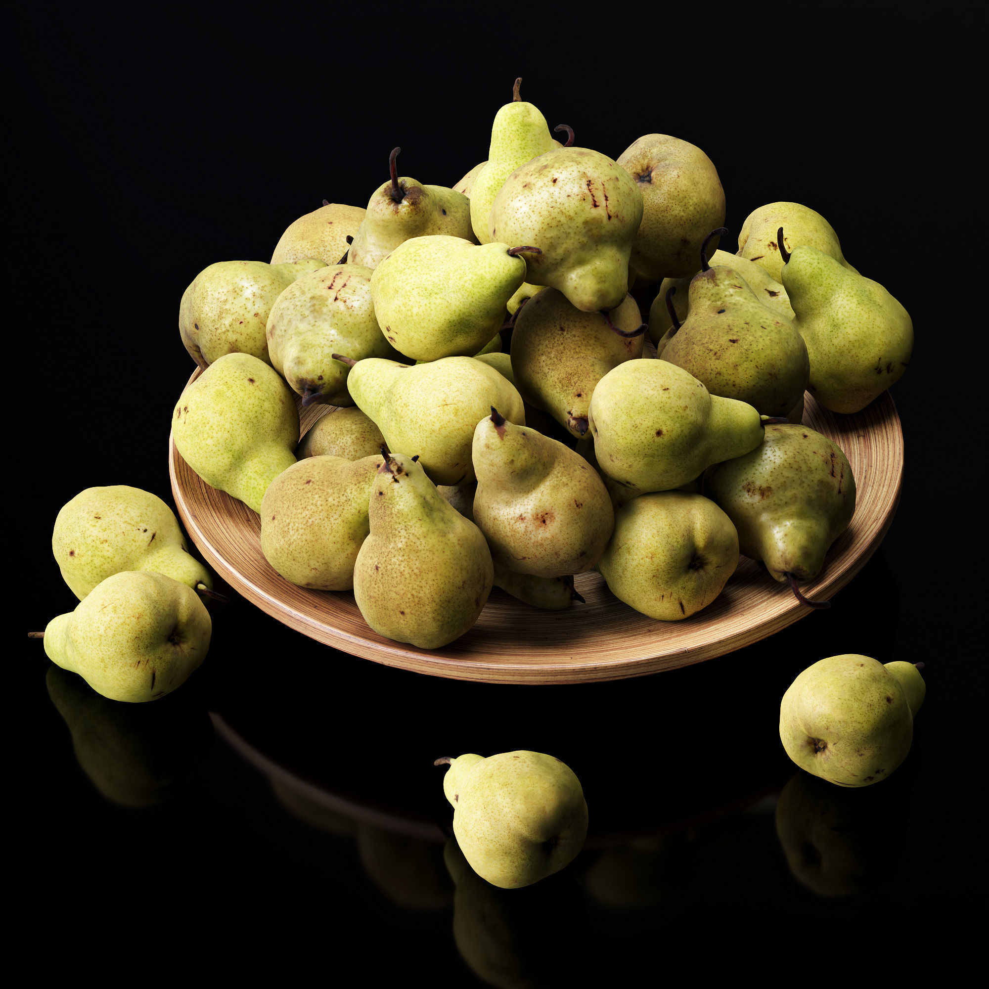 Pakham pears in a wooden fruit bowl
