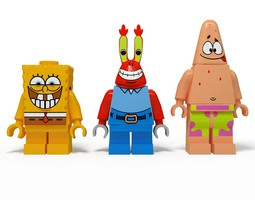 3D model Lego Man Sponge Bob with friends