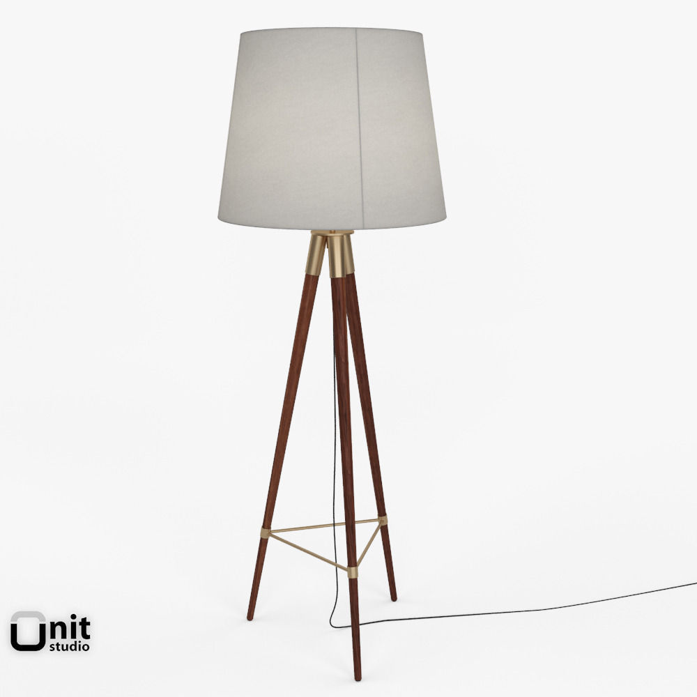 3D Mid-Century Tripod Floor Lamp by West Elm   CGTrader