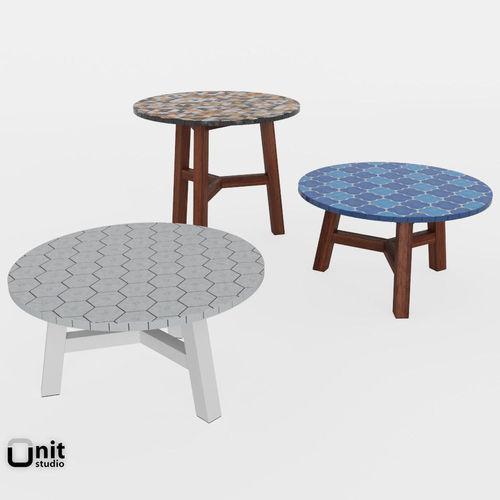 mosaic coffee tablewest elm 3d model max obj 3ds fbx dwg