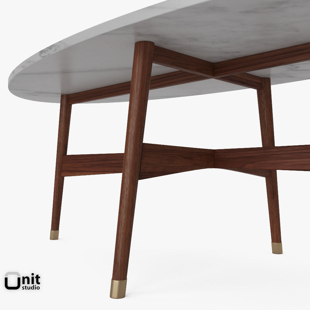 ... Reeve Mid Century Oval Coffee Table By West Elm 3d Model Max Obj 3ds  Fbx ...