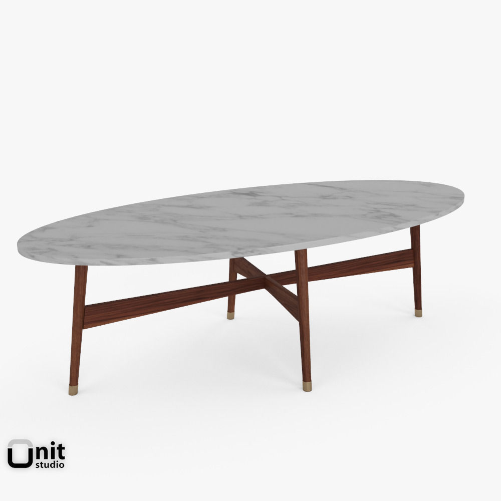 Reeve Mid Century Oval Coffee Table by West Elm 3D model MAX OBJ