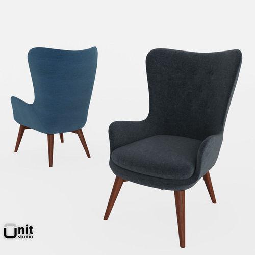 niels wing chair by west elm 3d model max obj mtl 3ds fbx dwg mat 1