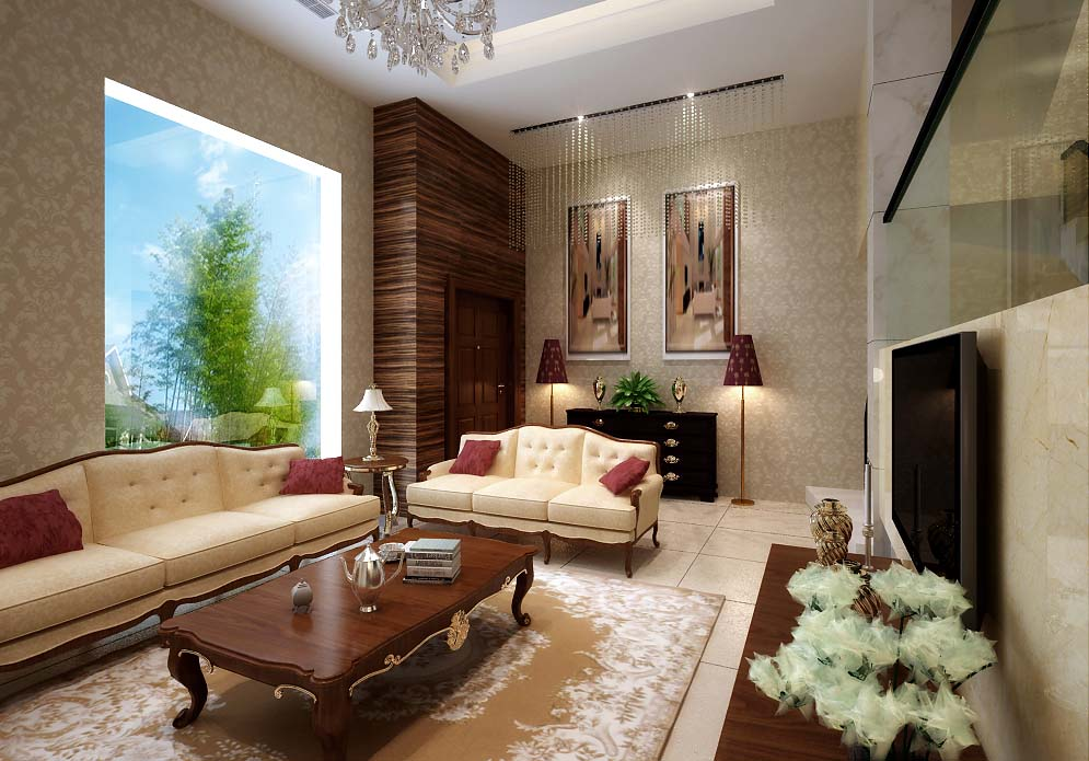 Brownish living room 3d model max for Living room 3d max