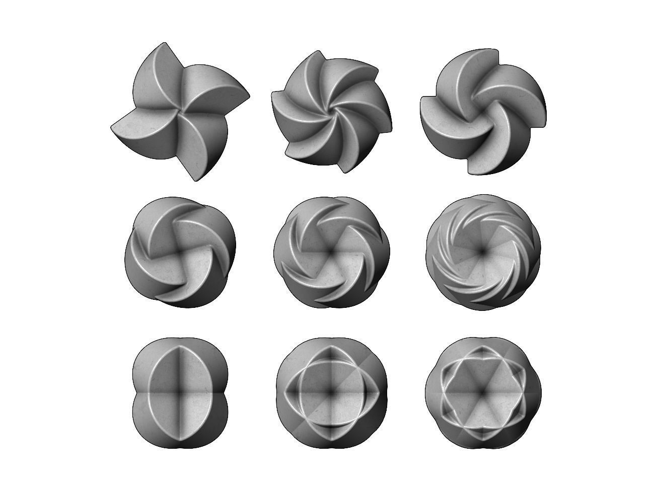 3d Geometrical pattern rosettes N02