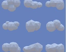 3d model low poly clouds pack game-ready