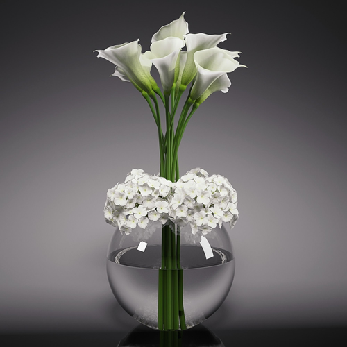 calla lily  hydrangeas arrangements 3d model max fbx 1