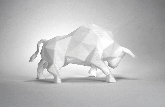 low poly bull sculpture 3d model max obj 3ds stl 1