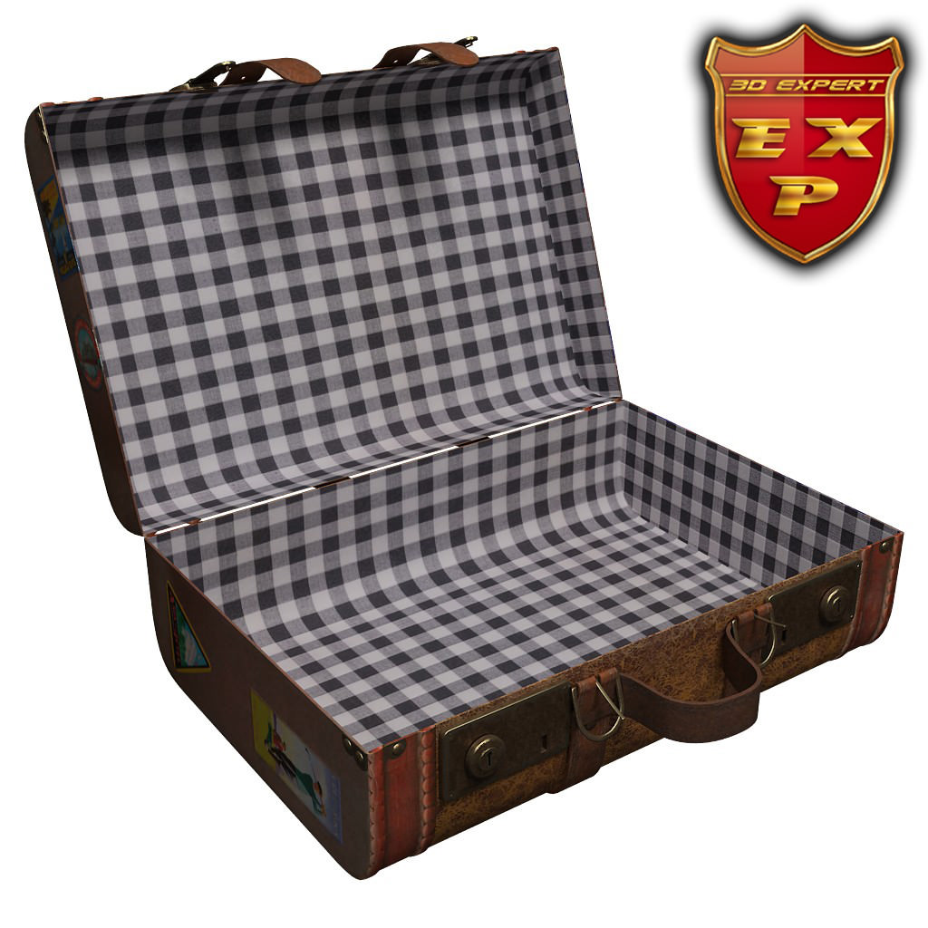 old suitcase open 3d model cgtrader