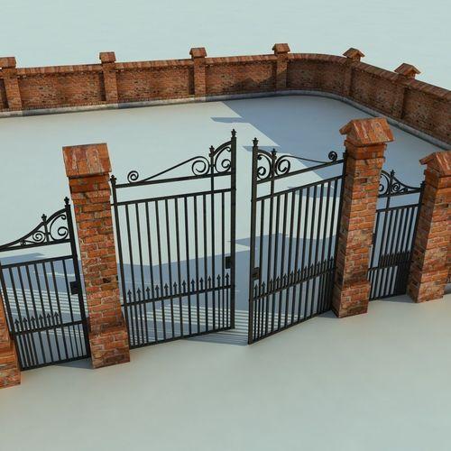 Brick Fence Wall Gate 3d Model Cgtrader