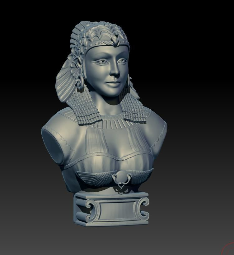 sculpture  Cleopatra  for printing and casting in metal